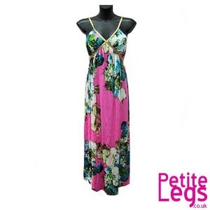Victoria Gold Plait Strap Maxi Dress in Floral Pink | UK Size 8-12 | Petite Height Select: 4ft7 - 5ft5